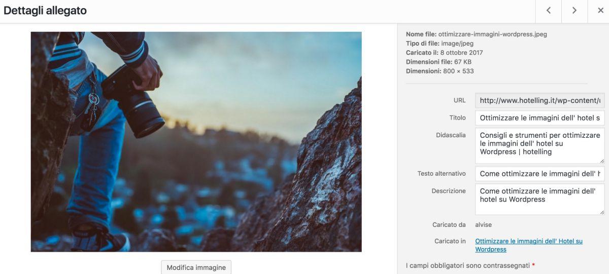 Esempio di ottimizzazione delle immagini su Wordpress