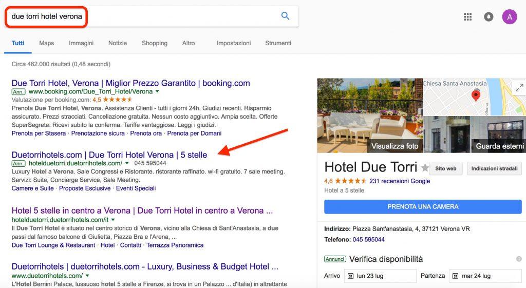 Due Torri Hotel Verona, branding su Google