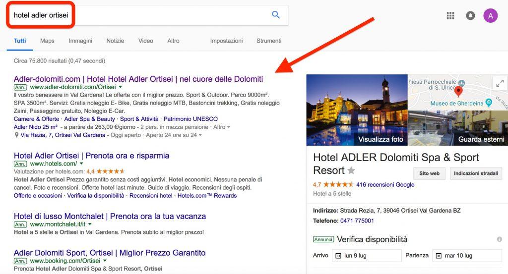 Hotel Adler Ortisei, branding su Google