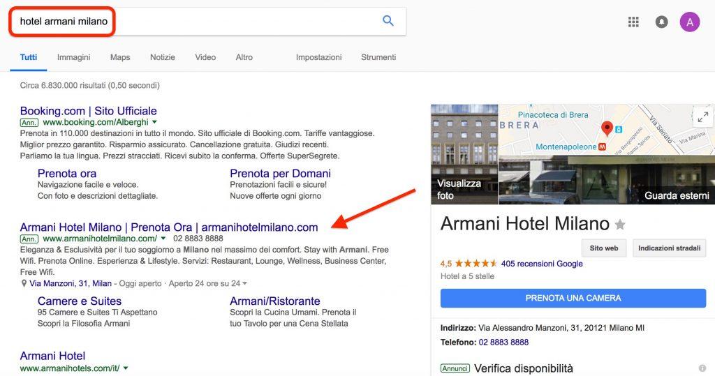 Hotel Armani Milano, branding su Google