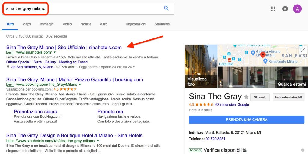 Sina The Gray Hotel Milano, branding su Google