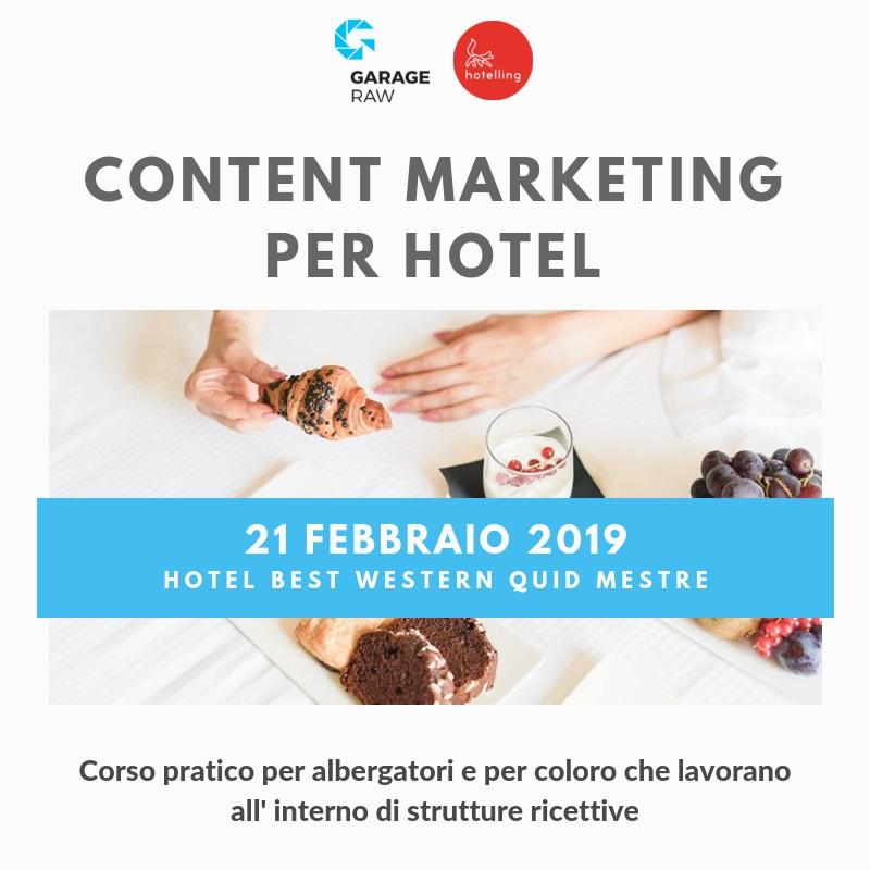 """Corso di formazione """"Content Marketing per Hotel"""""""